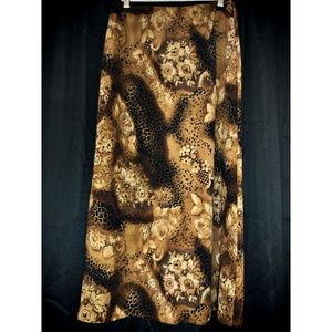 Faux Snakeskin Floral Brown and Black Long Skirt